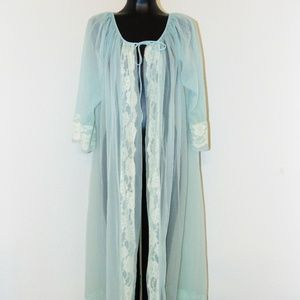 Vtg 60s Blue Lace Design Robe by Gaymode by pennys